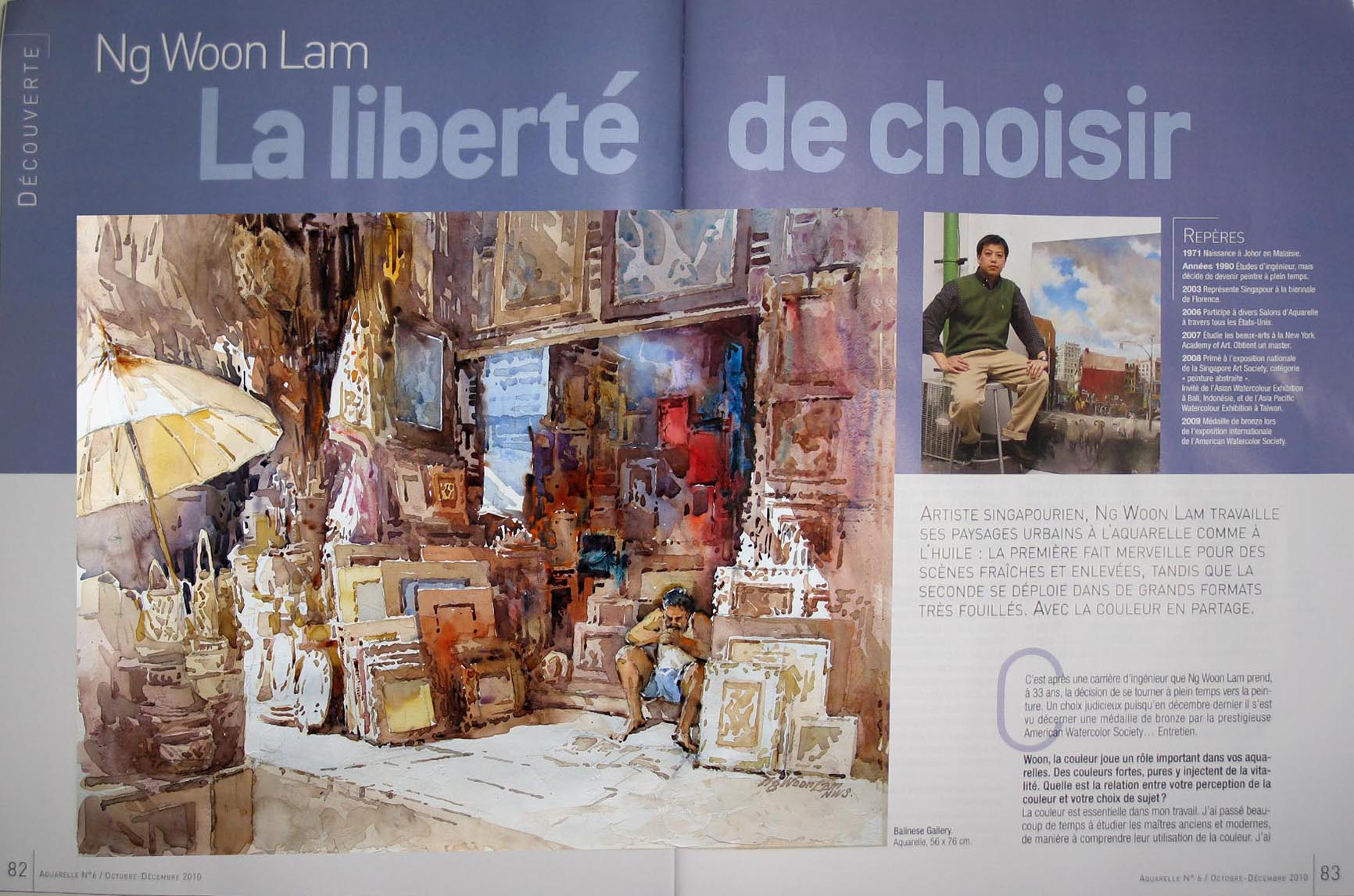 Watercolor artist magazine review - L Art De L Aquarelle Ng Woon Lam Aws Nws Mfa Feature In French Watercolor Art Magazine