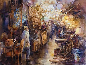 Antique Shop Ng Woon Lam Watercolour Painting